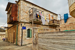 Old house in Mea Shearim quarter  in Jerusalem. Royalty Free Stock Photography
