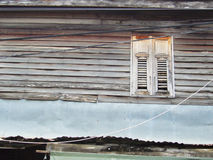 Old house. Metal awning in all timber old house Stock Image