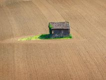 Old house in a middle of fields royalty free stock photos