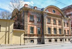 An old house on the Moika Embankment. Streets and courtyards of the central historical part of the city Royalty Free Stock Image