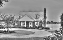 Old House-monochrome. The old house at the lake Royalty Free Stock Images