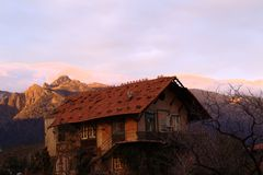 Old house with montain Royalty Free Stock Image