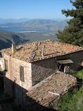 Old House and Mountain Scenery near Delphi Royalty Free Stock Image