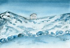 Old house on the mountains. Watercolor landscape. stock photos