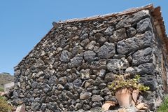 Old house with natural stone facade wall.  stock photo