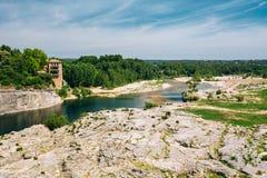 Old House Near Ancient Roman aqueduct of Pont du Gard, Nimes, Fr Stock Photos