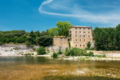 Old House Near Ancient Roman aqueduct of Pont du Gard, Nimes, France Royalty Free Stock Photography