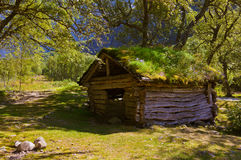 Old house near Briksdal glacier - Norway. Old house near Briksdal glacier - nature and travel background stock photography