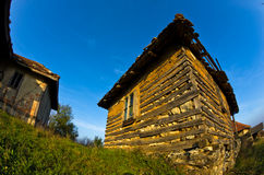 Old house near Danube river at sunset of autumn sunny day. East Serbia Stock Images