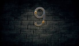 Old house number sign on wall. Old house number sign on the wall Royalty Free Stock Photography