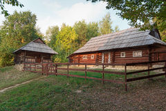 Old house of the peasants and the fence at the Museum of Pirogovo. Ukraine Stock Photo