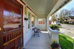 Old house porch with street spring view. stock images