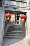 Old house and red lanterns Royalty Free Stock Photo