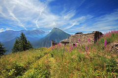 Old house remains in Alps. Stock Photo