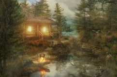 Old house by the rive. The old house by the river backwater in a dense forest at dawn Royalty Free Stock Photos