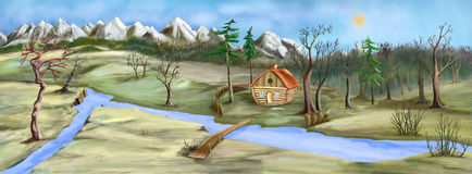 Old House by the River in Late Autumn. Gloom and dull landscape with Small House Near the River in late Autumn. Digital Painting Background, Illustration Royalty Free Stock Image