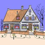 Vector. An old house. Royalty Free Stock Image