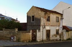 Old House in Road. Old House in Ruins, Loures, Portugal royalty free stock image
