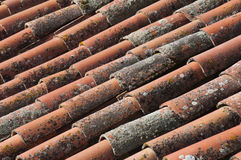 Old house roof. Cas roof with old stains on the tiles Royalty Free Stock Photos