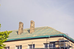 Old house roof restoration repairing construction Royalty Free Stock Images