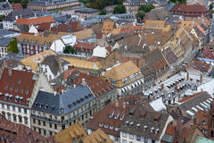 Old house roofs. Various tiled roofs of historical buildings in Strasbourg city center Royalty Free Stock Photo