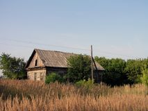 Old house in russian village stock images