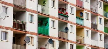 Old house of 70s year with flats and balcony royalty free stock images