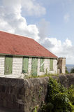 Old house Saba Dutch Antilles. Typical house architecture style old historic cottage Windwardside Saba Dutch Netherlands Antilles Caribbean sea view royalty free stock image