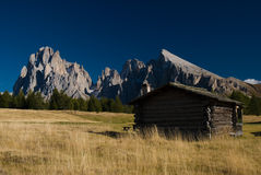 Old house on Seiser Alm. Dolomites, Italy Stock Photography