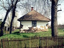 Old house in Serbian village. Vintage house in ruins on the countryside of Serbia stock images