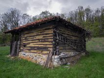 Old house for sheeps in the Serbian village royalty free stock image