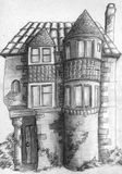 Old house sketch. Pencil drawn sketch of the old house. Nice piece of architecture with tower-like structures and windows of different sizes Stock Images