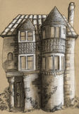 Old house sketch. Pencil drawn sketch of the old house. Nice piece of architecture with tower-like structures and windows of different sizes Royalty Free Stock Photo
