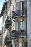 Old house with small french balconies, France royalty free stock photos