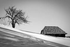 Old house in the snow Royalty Free Stock Photo