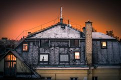 Old house with snow covering it Royalty Free Stock Photo