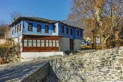 Old house and Stone bridge  in Moushteni near Kavala, East Macedonia and Thrace Royalty Free Stock Images