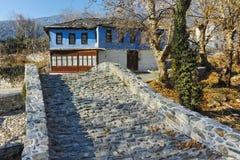 Old house and Stone bridge  in Moushteni near Kavala, East Macedonia and Thrace Stock Image