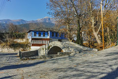Old house and Stone bridge in Moushteni near Kavala, Greece Royalty Free Stock Images