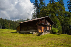 Old house at Swiss Alps Stock Image