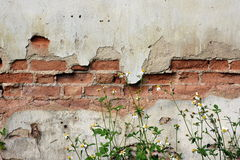 Old house texture. The age of this old house leaves some trace on this wall Royalty Free Stock Photography