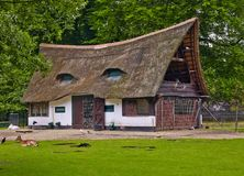 Old house with a thatched roof. The old house with a thatched roof in the summer Park Royalty Free Stock Photos