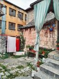 Old house in old town. Old house town yard village vintage city travel ancient tourism retro wall stone walking italy royalty free stock photography