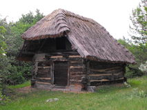 Old house. Old, traditional peasant's house made of wood. (Hungary Royalty Free Stock Images