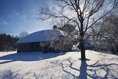 An old house and a tree in winter Stock Photography