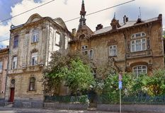 Lvov, Ukraine. An old house with a turret on the street of Lvov, Ukraine Royalty Free Stock Photos