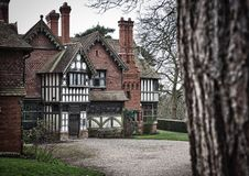 Old house. Old 1800 tutor house from behind a tree royalty free stock image