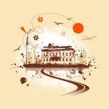 Old house, urban art. Vector illustration Stock Photo