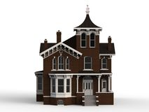 Old house in Victorian style. Illustration on white background. Species from different sides. 3d rendering. Old house in Victorian style. Illustration on white Royalty Free Stock Photo