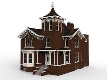 Old house in Victorian style. Illustration on white background. Species from different sides. 3d rendering. Old house in Victorian style. Illustration on white Stock Images